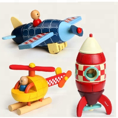 WOT001 France Janod wooden Magnetic assembly plane androcket helicopter educational toys for <strong>kids</strong>