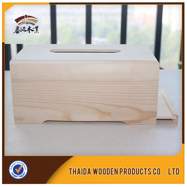 Customized Cheap Bamboo Rectanglar Wooden Tissue Case Box