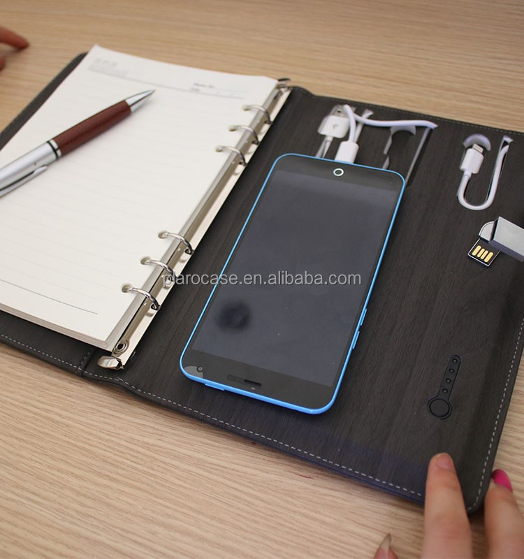 Shenzhen Promotional Corporate Gift Items PU Notebook Set with Power Bank and USB