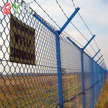 High Security Chain Link Airport Fence with Razor Wire