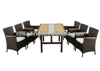 New Style Teak wood & Rattan dining set -4101