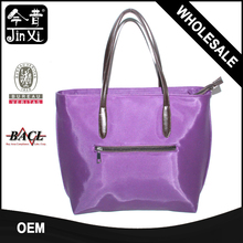 Custom design Smile Nylon tote bag with leather handle