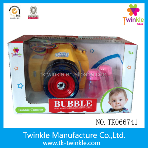 Twinkle toy new design light music bubble camera toy