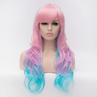 Multi-Color Long Wavy Synthetic Wig Pink Light Blue Gradient Color Inclined Bangs Soft Cosplay Masquerading Cheap Wig