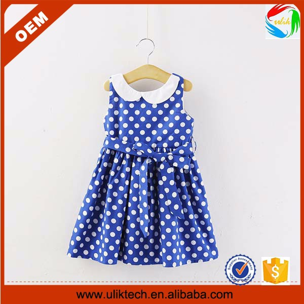 DHL Free shipping summer red dot girl dress girls polka casual cotton clothing blue dot clothing dress for girls