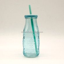 Audit drinking bottle with metal cover yogurt glass bottle glass milk bottle