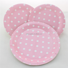Polka Dot Party Paper Plates 9 inch Pink Disposable Paper Plates
