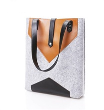 2015 alibaba express hot sale felt tote bag with leather from china supplier