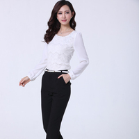 Business Cloth Fatory Lace Chiffon Office Wear Shirt and Pants for Women
