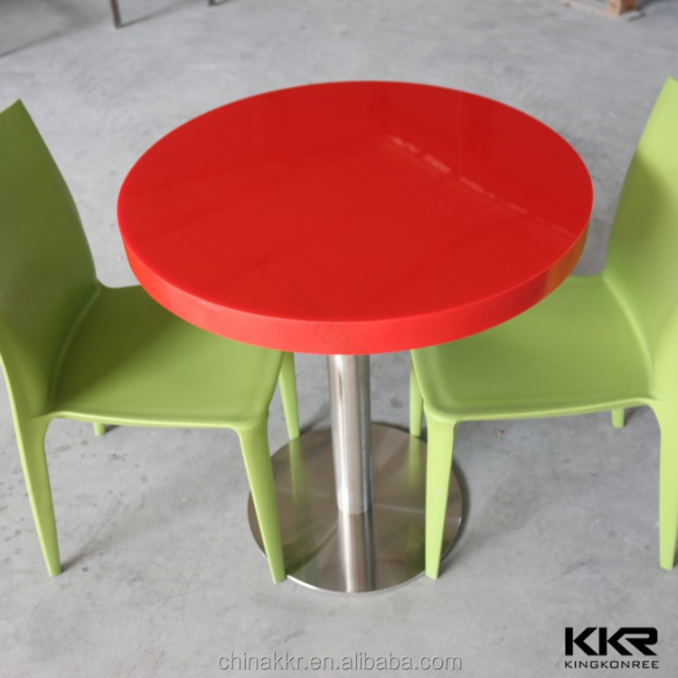 Artificial stone red round dining table top for sales