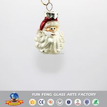 Glass crafts mini christmas Santa Claus head hanging figurine