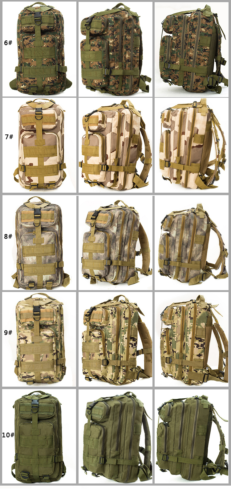 2017 China factory mountain mochila outdoor ultralight camping back pack men molle bagpack military wholesale tactical backpack