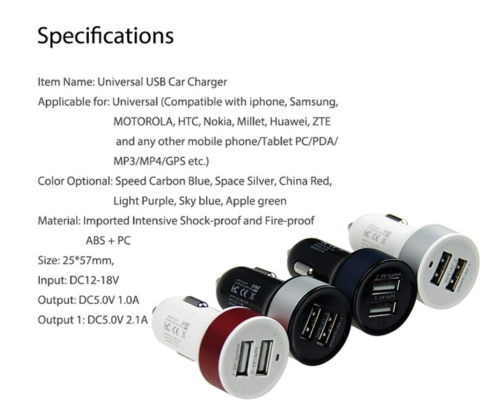 Colorful and Stylish MFI USB Car Charger 3.1A with Dual Usb Port For Mobile Phone Charging