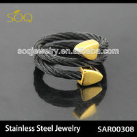 Fashionable Black Stainless Steel Wire Chain Adjustable Women & Men Jewelry Ring