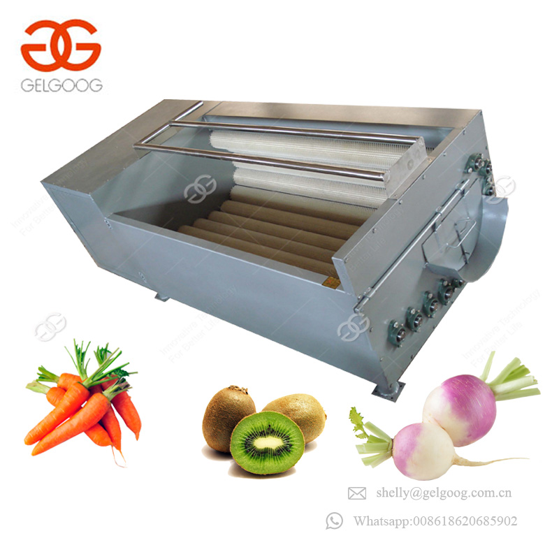 Commercial Professional Fruit Root Vegetables Radish Washer And Peeler Roller Brush Ginger Washing Machine