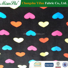 Single side heart pattern printed super soft velour fabric for market