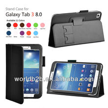 Leather Case Cover Stand + Stylus Holder for Samsung Galaxy Tab3 8.0