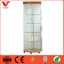 New products unique design glass cabinet used glass cosmetic display showcase