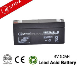 Maintenance free 6 volt agm battery 3.2ah