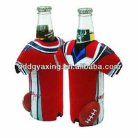 Neoprene T-shirt can/bottle cooler, folding stubby holder