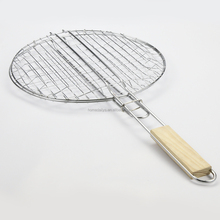 Round shaped Barbecue grill mesh with wooden handle