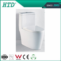White glaze Siphonic ceramic one piece toilet soft close seat cover ----HTD-MA-3012