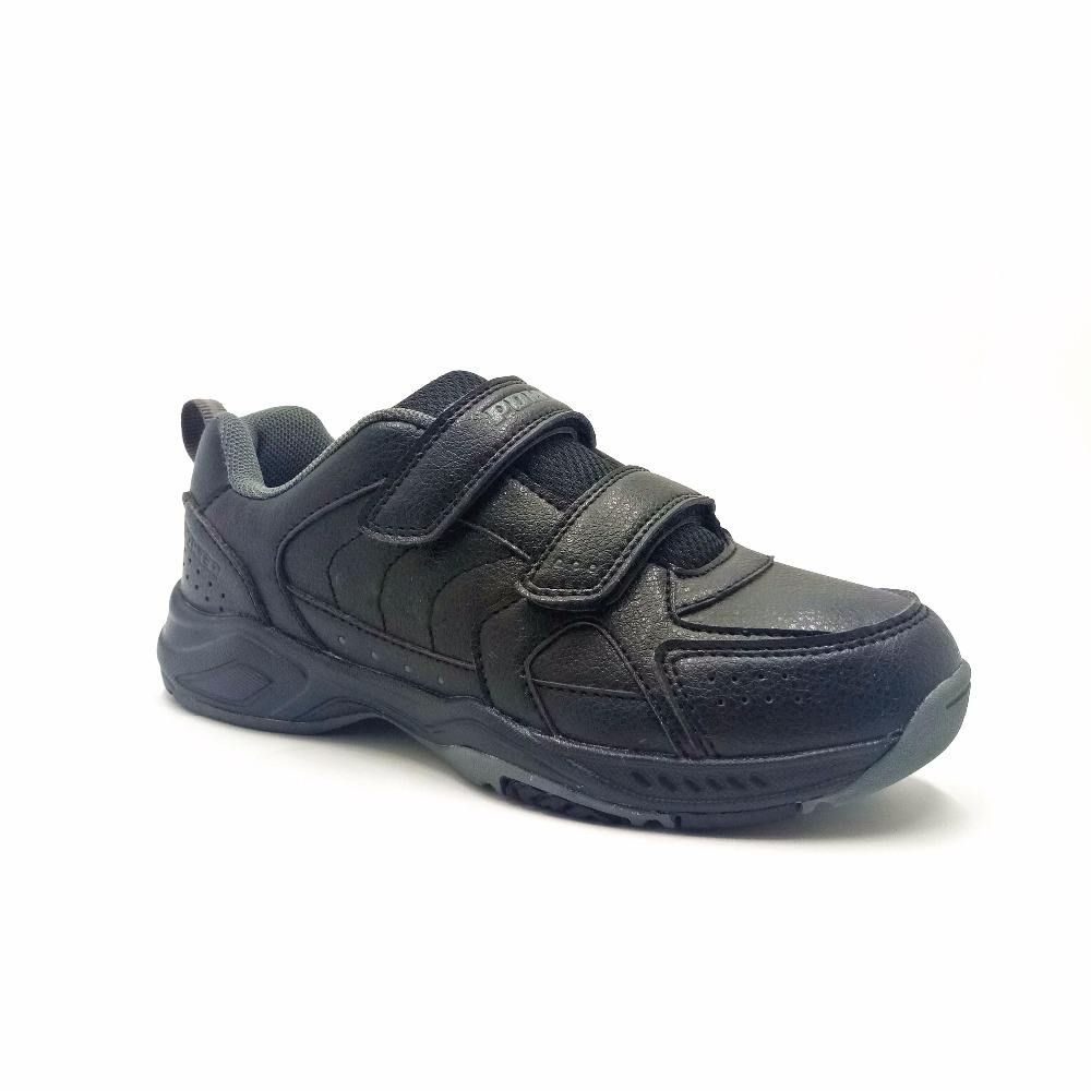 leather black school shoes for children kids