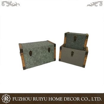 Chinese factory can be customized retro storage wooden trunk chests