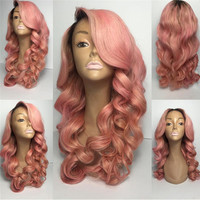 Tuneful Hair Brazilian Hair Ombre Pink Human Hair Full Lace Wig for Women