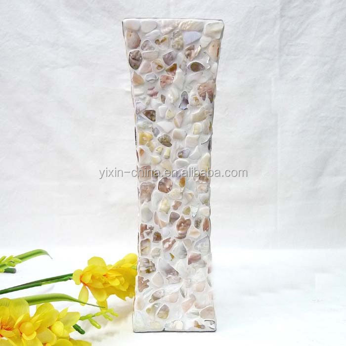 shell color home decor mosaic glass vase