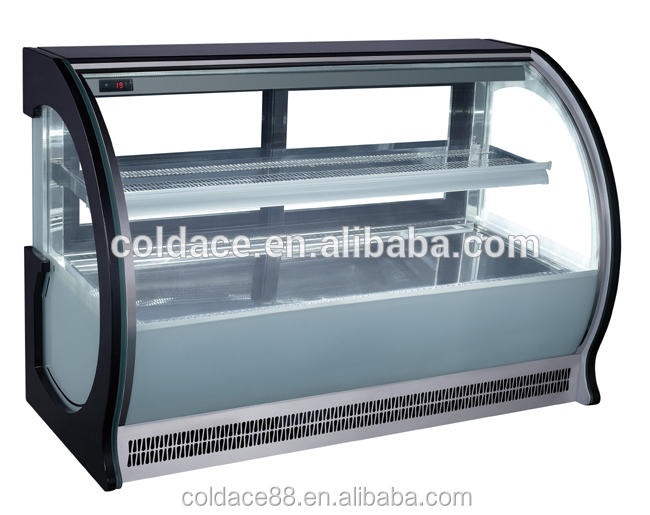 Curved Glass Used Countertop Refrigerated Display Case For Bakery ...