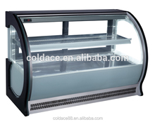 Curved glass used countertop refrigerated display case for bakery