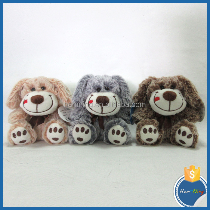 12cm sitting soft plush stuffed kids lucky dog pet toy with big smiles
