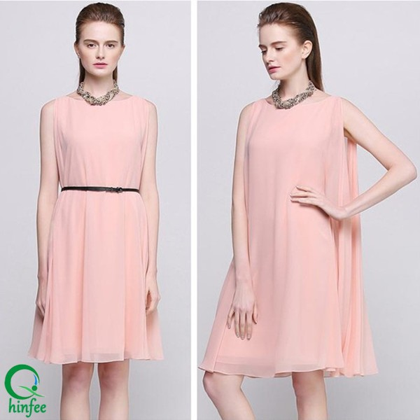 D252 Pink Loose Fit Sleeveless Casual Summer Chiffon Style Woman Dress