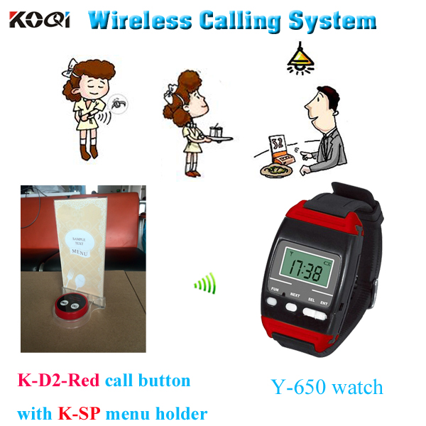 Restaurant Order Device Y-650+K-D2-Red+K-SP 433mhz Receiver Watch Pager System