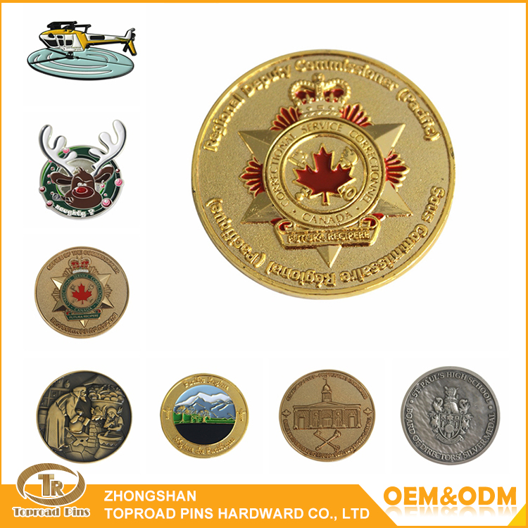 High quality gold plated zinc alloy challenge coin custom metal souvenir coins promotional coin