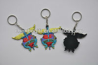 Custom promotion Soft rubber key chain, 2d pvc key ring , pvc key holder