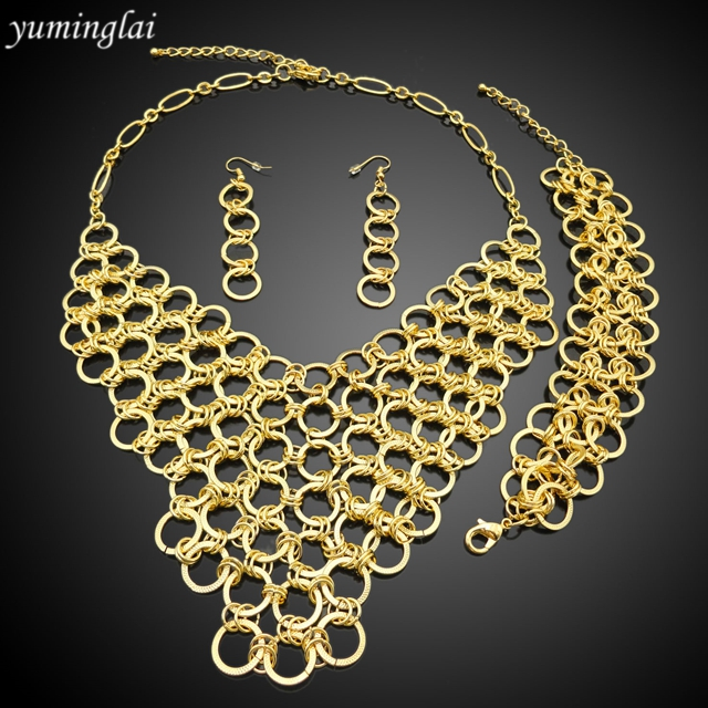 new jewelry sets 24k gold plated african beads fashion necklace earrings wedding women gift bride girl popular set jewelrys