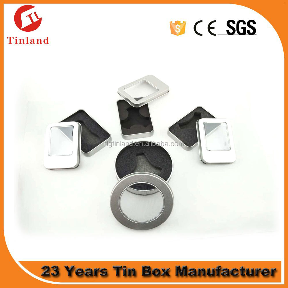 small rectangle and round tinbox Finger Spinner packaging window box