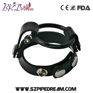 Leather Constraint Adjustable Penis Cock Ring Time Delay Ejaculation Rubber Cock Cage Penis Extender for Men