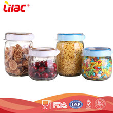 High quality clear empty Heat resistant borosilicate nuts glass storage jar with lid