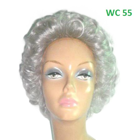 "Short Curly Icy Grey Long lasting Synthetic Wig Soft texture with Exquisite Quality Modern for old ladies 10""L Full Wig"