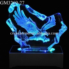 light up glass iceberg with LED light and curved lovely dogs inside the block