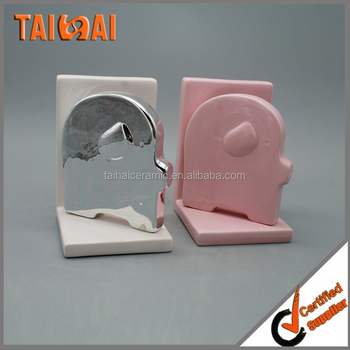 Ceramic book holder pig shaped bookends