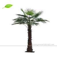 2 Meter Plastic Fake Coconut Palm Tree with Fan Palm Leaves