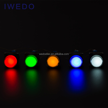 LED Colorful 16mm Spring Return Waterproof Cover Pushbutton Switch 3A 24V Illuminated A16