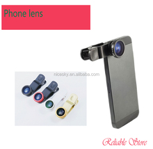 New Arrival Universal general 3 in 1 lens 180 degree Fisheye Lens + Macro Lens + Wide-angle Lens clip Lens Five colors