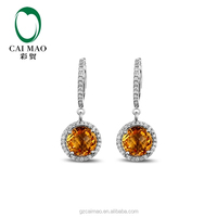 Fine Jewelry Wholesale 14k White Gold Natural 4.25ct Round Cut Yellow Citrine 0.34ct Diamond Engagement Earrings Free Shipping