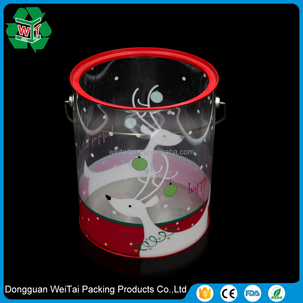 wholesale small clear plastic colored buckets with lids for sale