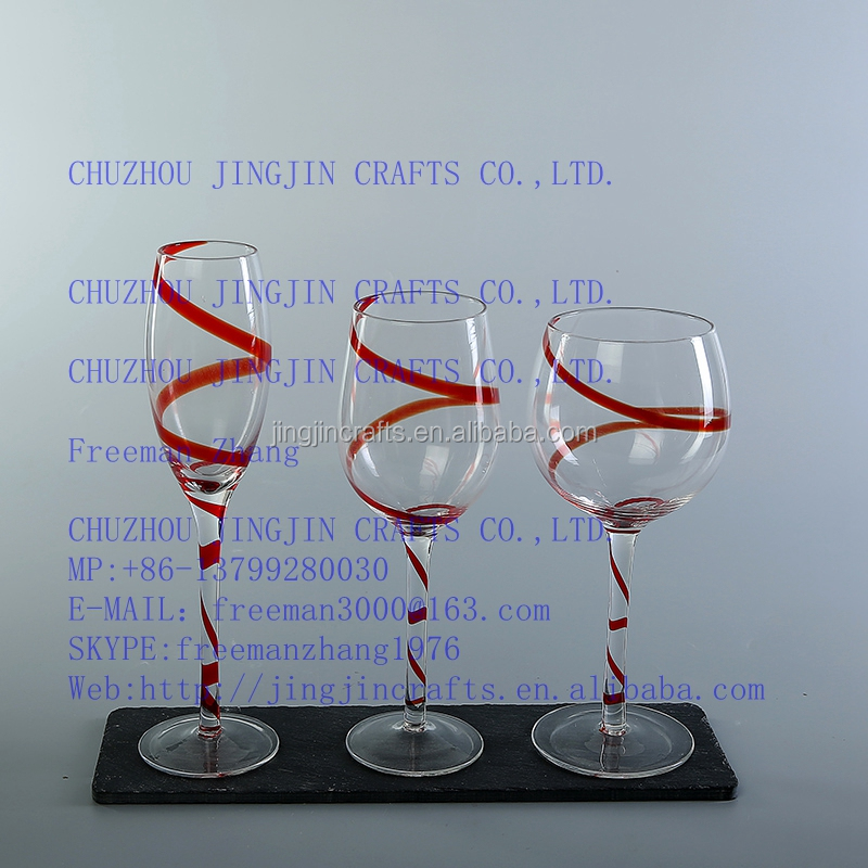 lead free red swirl long stemmed wine glass